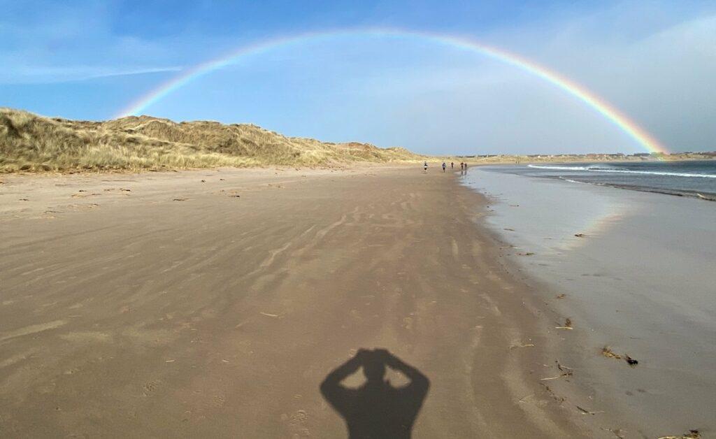Northumberland Coastal Marathon - Feb 2020 - beach and rainbow